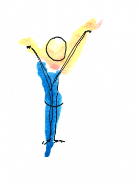 Mensch, der die Arme in die Luft streckt, als Zeichen der Freude über das, was er geschafft hat. Illustration mit Wasserfarbe / Person raising arms in the air, to show happiness about what he achieved.